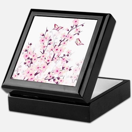 Cherry Blossoms And Butterflies Keepsake Box