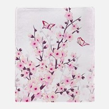 Cherry Blossoms And Butterflies Throw Blanket