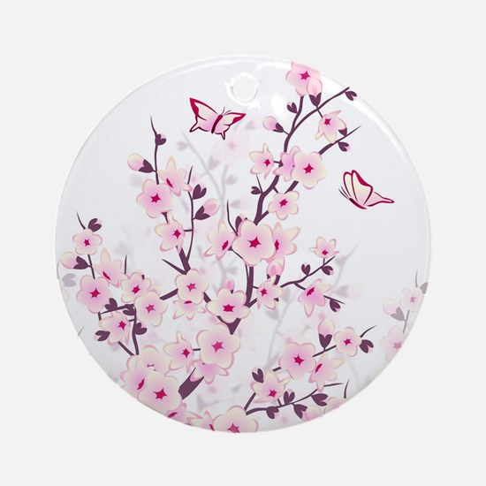Cherry Blossoms And Butterflies Round Ornament