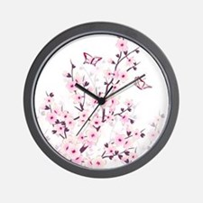 Cherry Blossoms And Butterflies Wall Clock