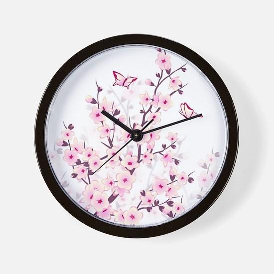 Cherry Blossoms And Butterflies Wall Clock