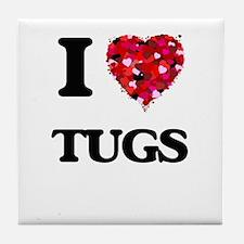 I love Tugs Tile Coaster
