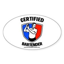 Certified Bartender Oval Decal