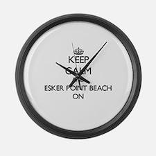 Keep calm and Esker Point Beach C Large Wall Clock