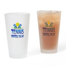 Tennis Brightens the Day Drinking Glass