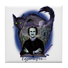 Edgar Allan Poe Black Cat Tile Coaster