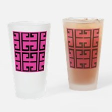 Hot Pink and Black Tile Drinking Glass