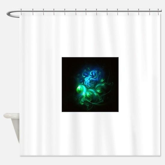 Glowing Neon Green & Blue Swirls Shower Curtain