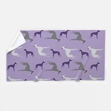 Greyhounds On Purple Beach Towel