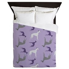 Greyhounds on Purple Queen Duvet