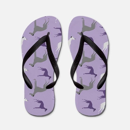 Greyhounds on Purple Flip Flops