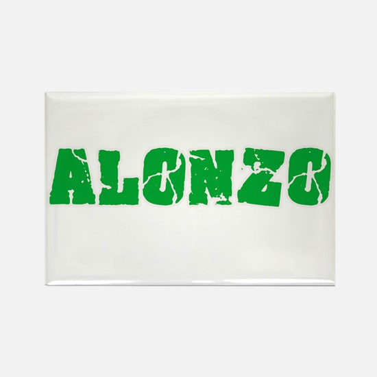 Alonzo Name Weathered Green Design Magnets
