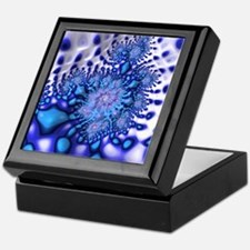 Groovy Trippy Cool Blue Fractal Art Keepsake Box