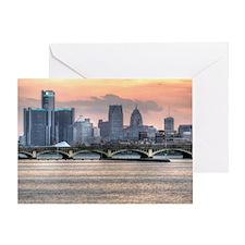 Detroit HDR Skyline II - Rotated Greeting Card