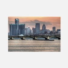 Detroit HDR Skyline II - Rotated Rectangle Magnet