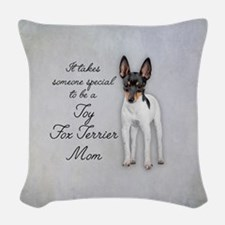Toy Fox Terrier Mom Woven Throw Pillow