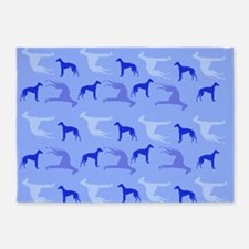 Blue Greyhounds 5'x7'Area Rug