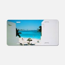 Tropical View Aluminum License Plate