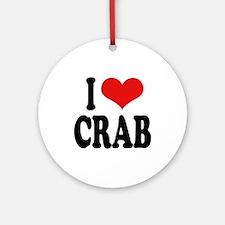 I Love Crab Ornament (Round)