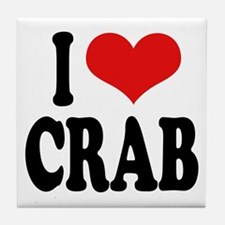 I Love Crab Tile Coaster