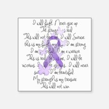 "Purple Ribbon, poem Square Sticker 3"" x 3"""