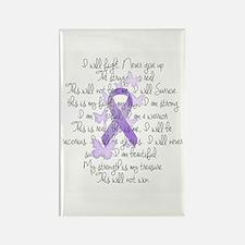 Purple Ribbon, poem Rectangle Magnet