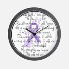 Purple Ribbon, poem Wall Clock