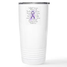 Purple Ribbon, poem Travel Coffee Mug