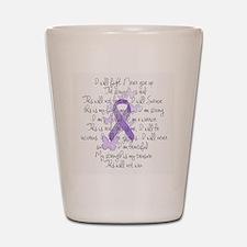 Purple Ribbon, poem Shot Glass