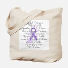 Purple Ribbon, poem Tote Bag
