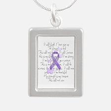 Purple Ribbon, poem Silver Portrait Necklace
