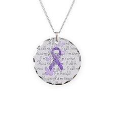 Purple Ribbon, poem Necklace Circle Charm