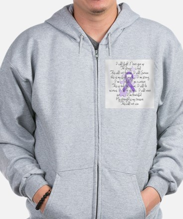 Purple Ribbon, poem Zip Hoodie
