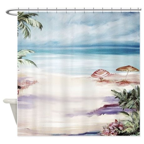 Beach Curtains For Kitchen Beach Theme Shower Curtain