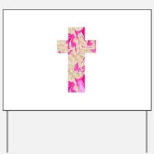 Pink Art Cross for Charlotte Yard Sign
