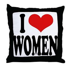 I Love Women Throw Pillow