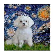 Starry Night / Maltese (R) Tile Coaster