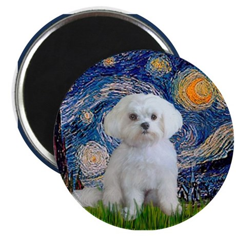 Starry Night / Maltese (R) Magnet