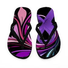 Purple Ribbon, Colorful Floral Flip Flops