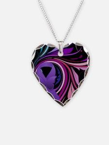 Purple Ribbon, Colorful Flora Necklace
