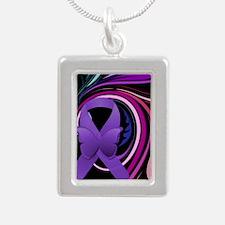 Purple Ribbon, Colorful Silver Portrait Necklace