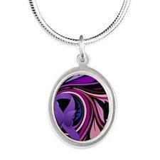Purple Ribbon, Colorful Flora Silver Oval Necklace