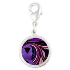 Purple Ribbon, Colorful Floral Silver Round Charm