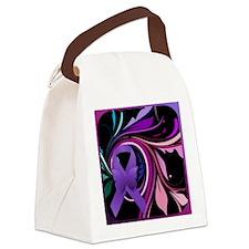 Purple Ribbon, Colorful Floral Canvas Lunch Bag