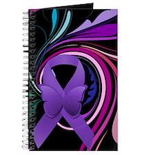 Purple Ribbon, Colorful Floral Journal