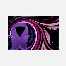 Purple Ribbon, Colorful Floral Rectangle Magnet