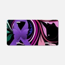 Purple Ribbon, Colorful Flo Aluminum License Plate