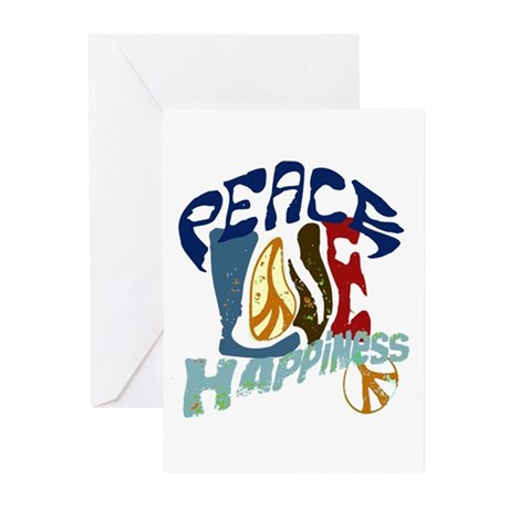 Peace Love and Happiness #P2 Greeting Cards (Pk of