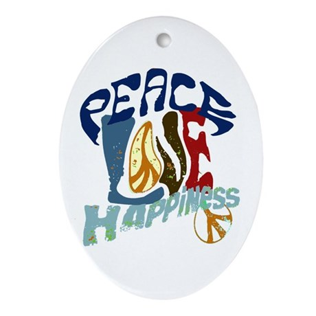 Peace Love and Happiness #P2 Oval Ornament