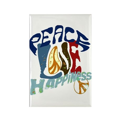 Peace Love and Happiness #P2 Rectangle Magnet (100